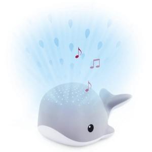 WALLY Кит Ночник-проектор со звуками океана и колыбельными (серый)