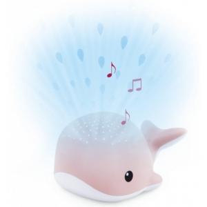 WALLY Кит Ночник-проектор со звуками океана и колыбельными (розовый)